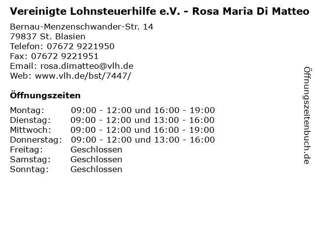 Vereinigte Lohnsteuerhilfe e.V. - Rosa Maria Di Matteo in St. Blasien: Adresse und Öffnungszeiten