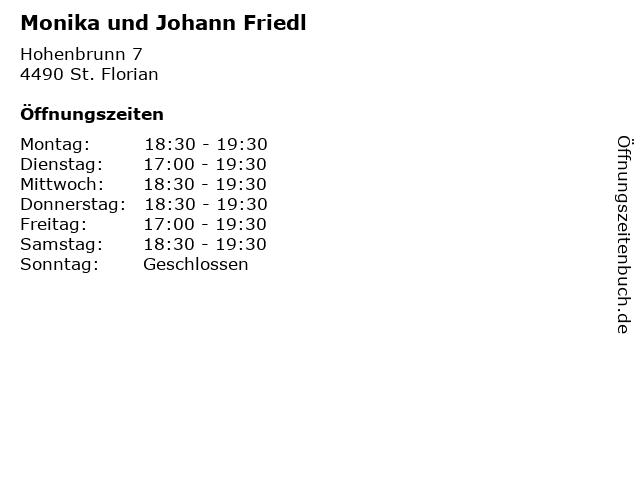 Monika und Johann Friedl in St. Florian: Adresse und Öffnungszeiten