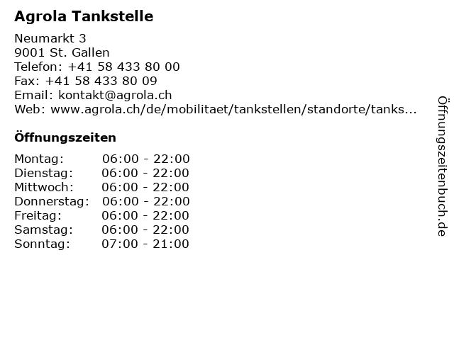 Agrola Tankstelle in St. Gallen: Adresse und Öffnungszeiten