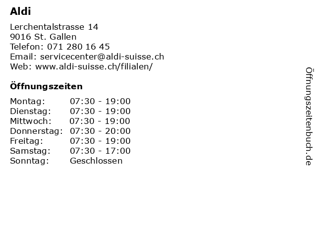 Aldi in St. Gallen: Adresse und Öffnungszeiten