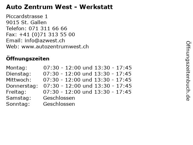 Auto Zentrum West - Werkstatt in St. Gallen: Adresse und Öffnungszeiten