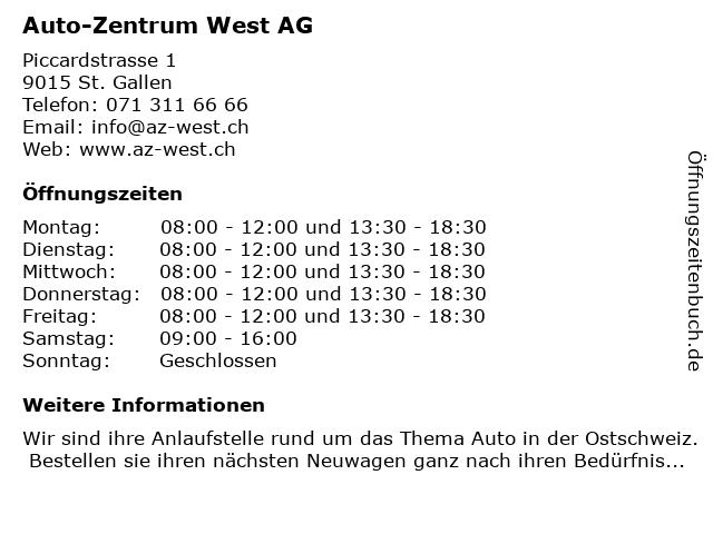 Auto-Zentrum West AG in St. Gallen: Adresse und Öffnungszeiten