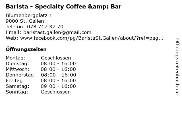 Barista - Specialty Coffee & Bar in St. Gallen: Adresse und Öffnungszeiten