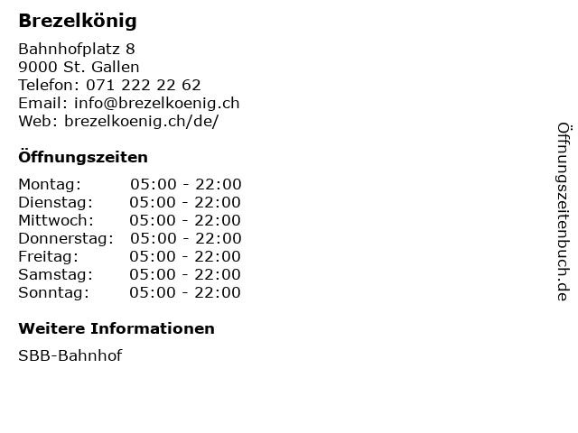 Brezelkönig in St. Gallen: Adresse und Öffnungszeiten