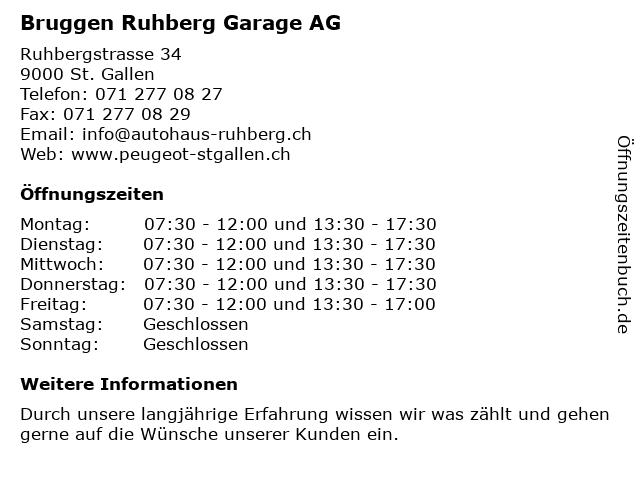 Bruggen Ruhberg Garage AG in St. Gallen: Adresse und Öffnungszeiten