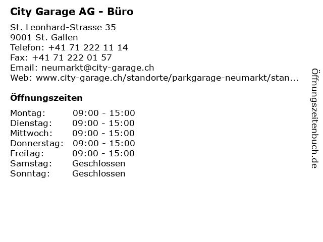 City Garage AG - Büro in St. Gallen: Adresse und Öffnungszeiten