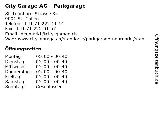City Garage AG - Parkgarage in St. Gallen: Adresse und Öffnungszeiten