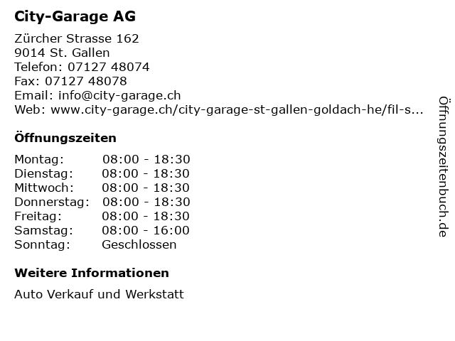 City-Garage AG in St. Gallen: Adresse und Öffnungszeiten