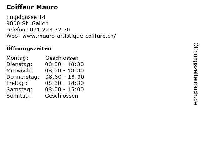 Coiffeur Mauro in St. Gallen: Adresse und Öffnungszeiten