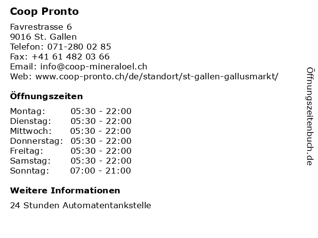 Coop Pronto in St. Gallen: Adresse und Öffnungszeiten