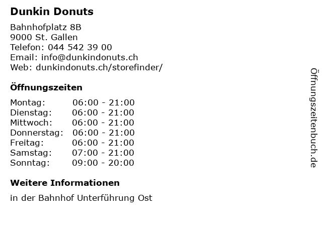 Dunkin Donuts in St. Gallen: Adresse und Öffnungszeiten
