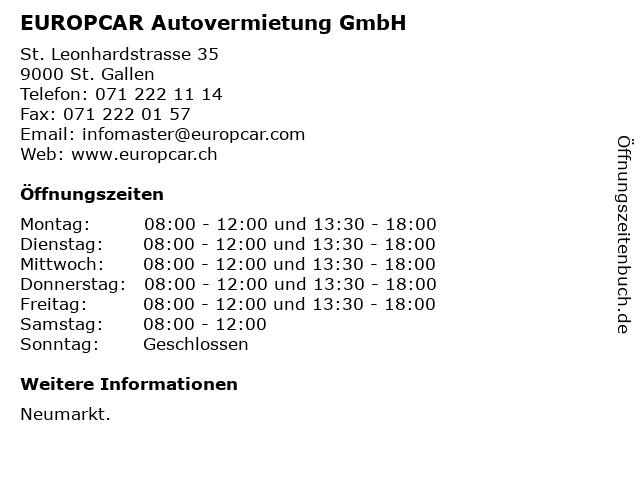 EUROPCAR Autovermietung GmbH in St. Gallen: Adresse und Öffnungszeiten