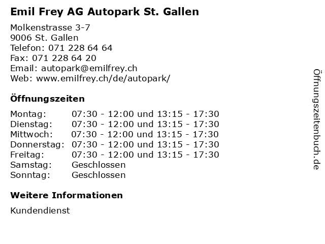 Emil Frey AG Autopark St. Gallen in St. Gallen: Adresse und Öffnungszeiten