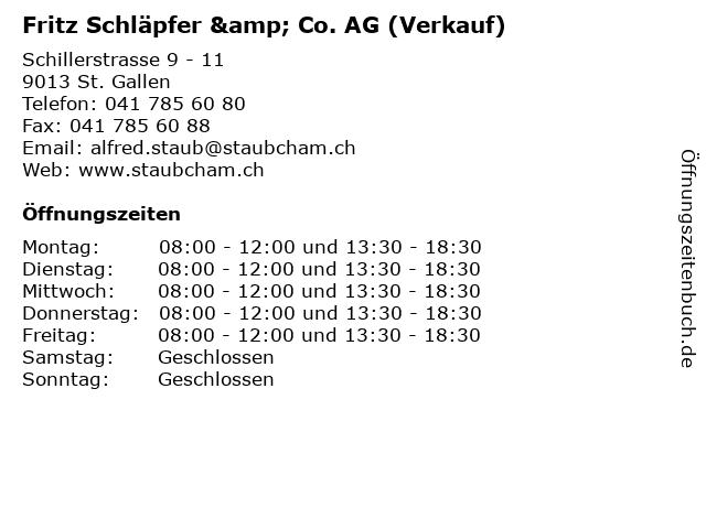 Fritz Schläpfer & Co. AG (Verkauf) in St. Gallen: Adresse und Öffnungszeiten