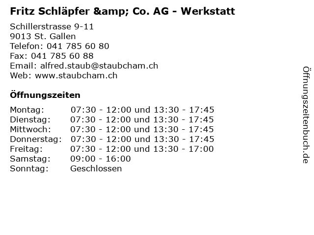 Fritz Schläpfer & Co. AG - Werkstatt in St. Gallen: Adresse und Öffnungszeiten
