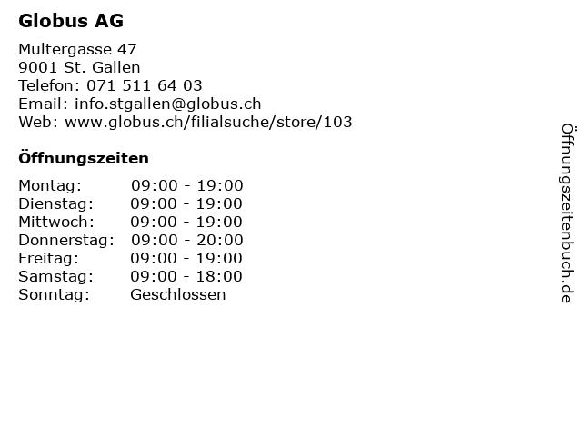 Globus AG in St. Gallen: Adresse und Öffnungszeiten