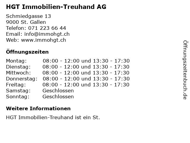 HGT Immobilien-Treuhand AG in St. Gallen: Adresse und Öffnungszeiten