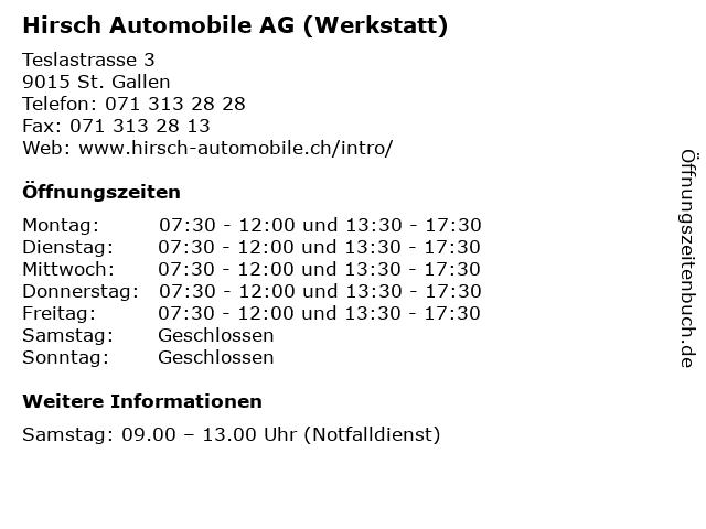 Hirsch Automobile AG (Werkstatt) in St. Gallen: Adresse und Öffnungszeiten