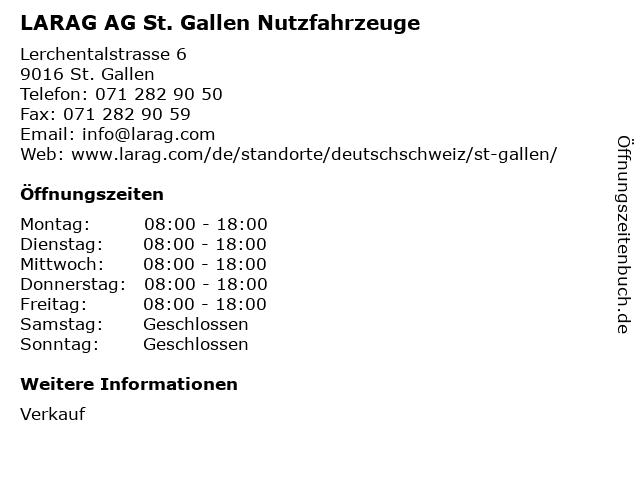 LARAG AG St. Gallen Nutzfahrzeuge in St. Gallen: Adresse und Öffnungszeiten