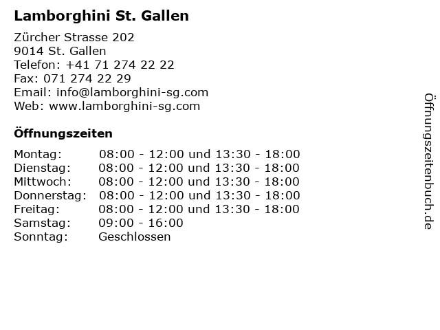 Lamborghini St. Gallen in St. Gallen: Adresse und Öffnungszeiten