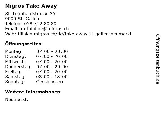 MIGROS Take Away in St. Gallen: Adresse und Öffnungszeiten