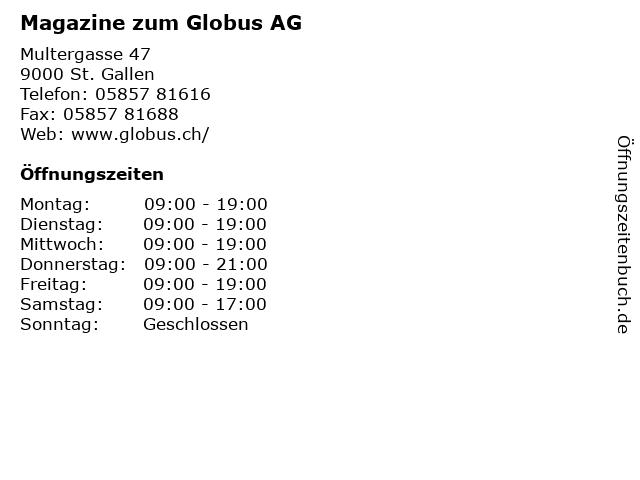 Magazine zum Globus AG in St. Gallen: Adresse und Öffnungszeiten