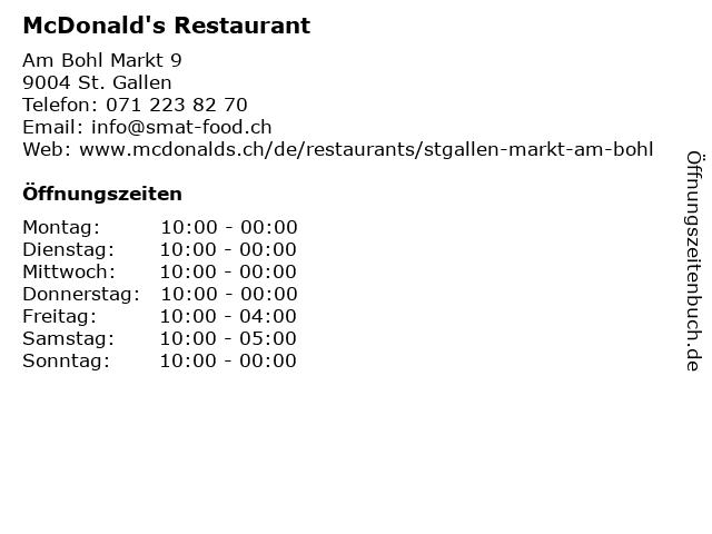 McDonald's Restaurant in St.Gallen: Adresse und Öffnungszeiten