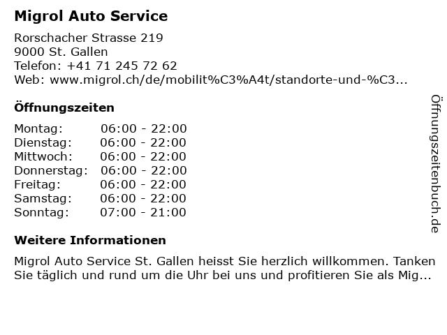 Migrol Auto Service in St. Gallen: Adresse und Öffnungszeiten