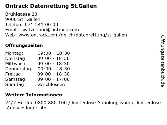 Ontrack Datenrettung St.Gallen in St. Gallen: Adresse und Öffnungszeiten