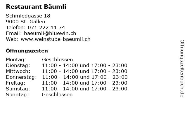 Restaurant Bäumli in St. Gallen: Adresse und Öffnungszeiten