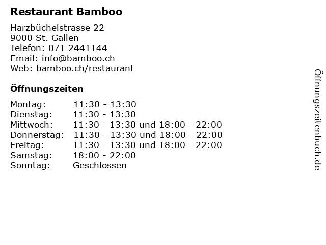 Restaurant Bamboo in St. Gallen: Adresse und Öffnungszeiten