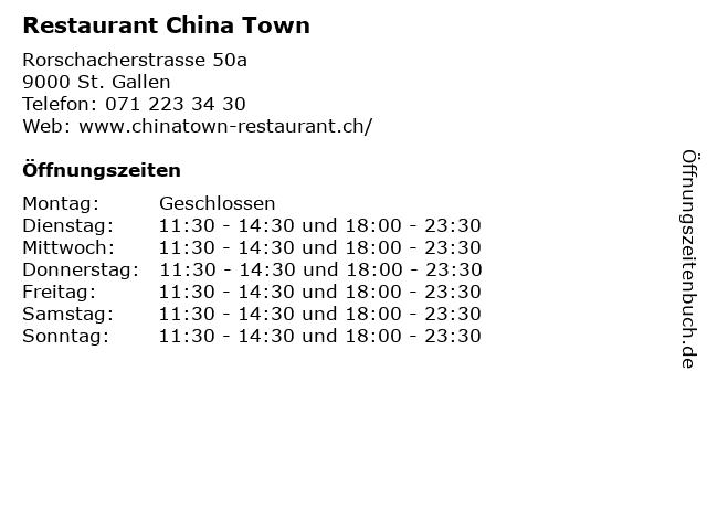 Restaurant China Town in St. Gallen: Adresse und Öffnungszeiten