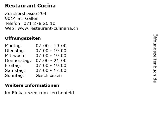 Restaurant Cucina in St. Gallen: Adresse und Öffnungszeiten