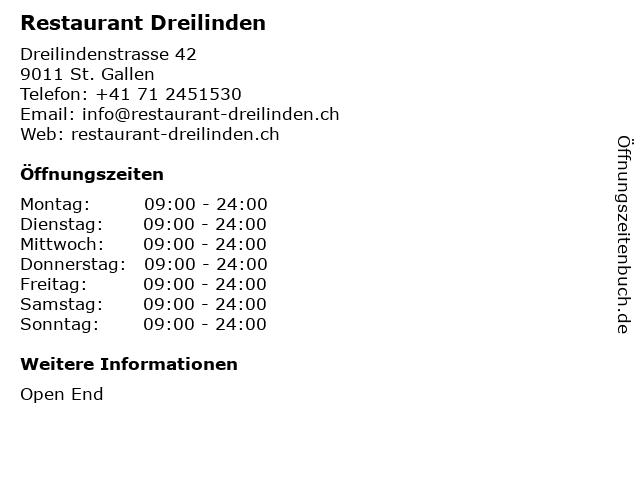 Restaurant Dreilinden in St. Gallen: Adresse und Öffnungszeiten