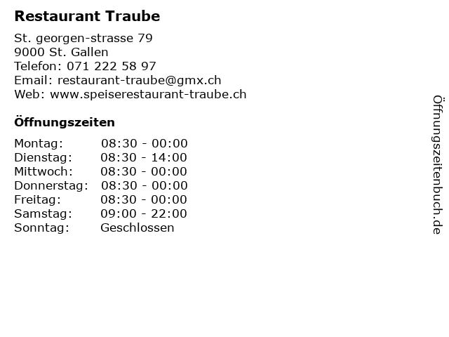 Restaurant Traube in St. Gallen: Adresse und Öffnungszeiten