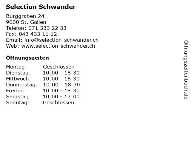 Selection Schwander in St. Gallen: Adresse und Öffnungszeiten