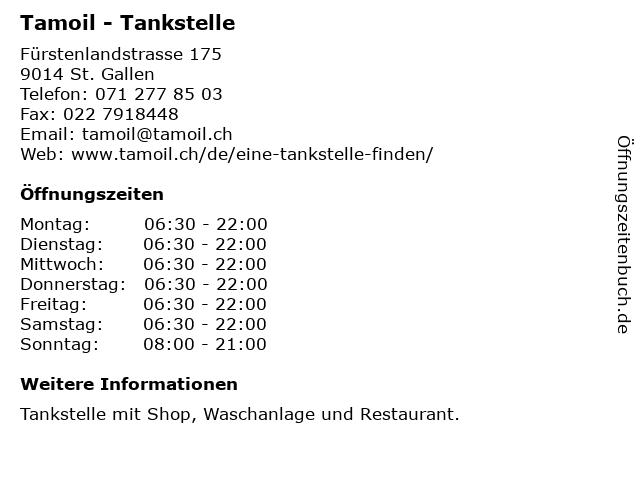 Tamoil - Tankstelle in St. Gallen: Adresse und Öffnungszeiten