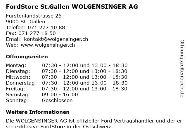 WOLGENSINGER AG in St. Gallen: Adresse und Öffnungszeiten