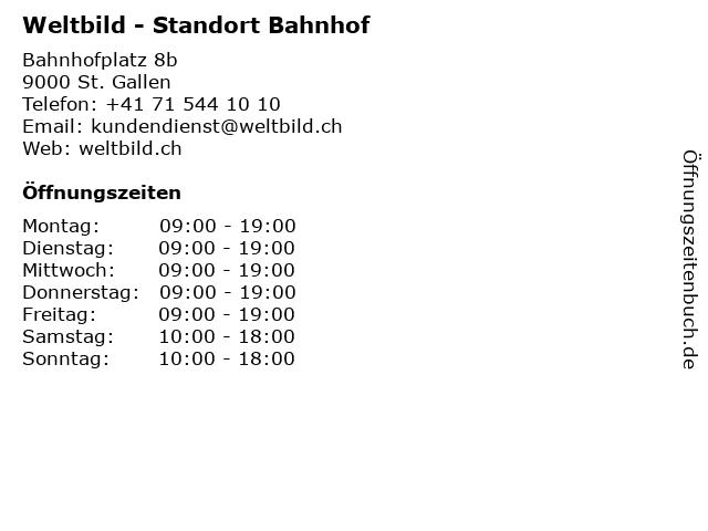 Weltbild - Standort Bahnhof in St. Gallen: Adresse und Öffnungszeiten