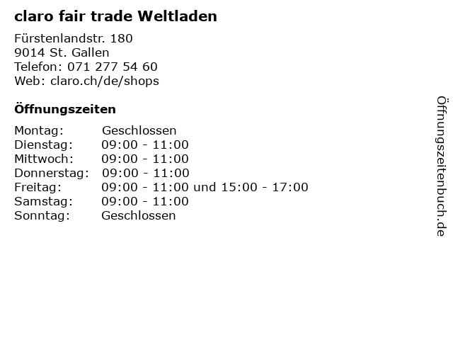 claro fair trade Weltladen in St. Gallen: Adresse und Öffnungszeiten