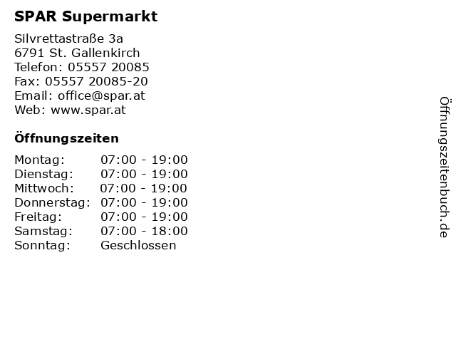 SPAR Supermarkt in St. Gallenkirch: Adresse und Öffnungszeiten