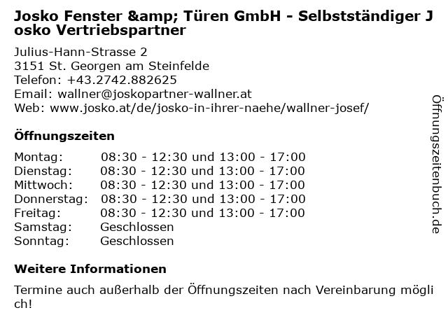 Josko Fenster & Türen GmbH - Selbstständiger Josko Vertriebspartner in St. Georgen am Steinfelde: Adresse und Öffnungszeiten