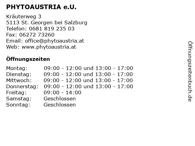 PHYTOAUSTRIA e.U. in St. Georgen bei Salzburg: Adresse und Öffnungszeiten