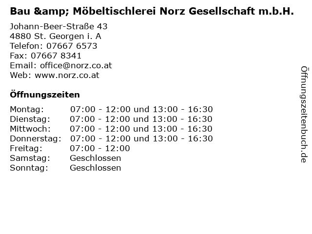 Bau & Möbeltischlerei Norz Gesellschaft m.b.H. in St. Georgen i. A: Adresse und Öffnungszeiten