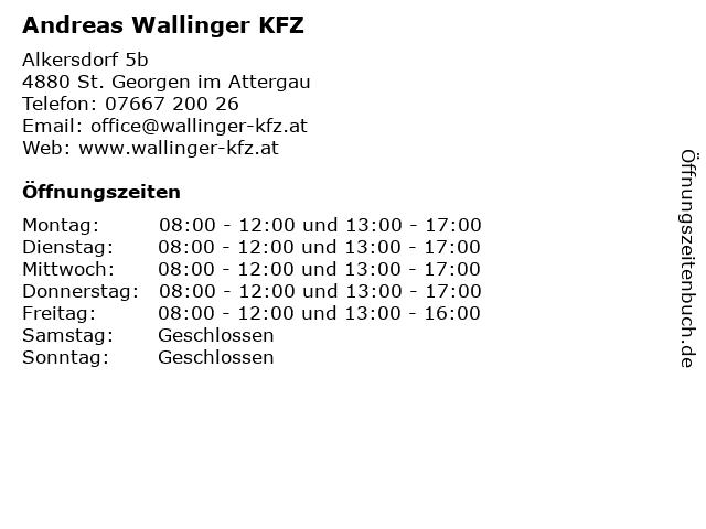 Andreas Wallinger KFZ in St. Georgen im Attergau: Adresse und Öffnungszeiten