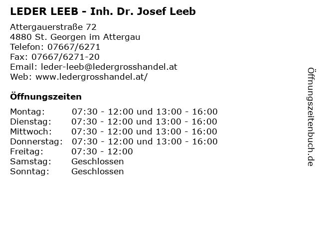 LEDER LEEB - Inh. Dr. Josef Leeb in St. Georgen im Attergau: Adresse und Öffnungszeiten