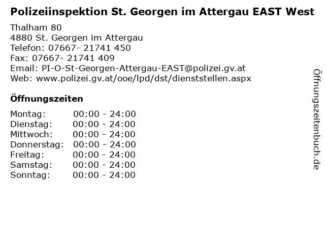 Polizeiinspektion St. Georgen im Attergau EAST West in St. Georgen im Attergau: Adresse und Öffnungszeiten