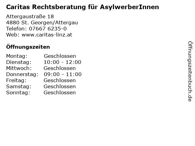 Caritas Rechtsberatung für AsylwerberInnen in St. Georgen/Attergau: Adresse und Öffnungszeiten