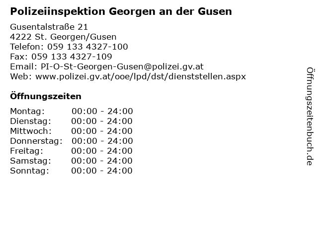 Polizeiinspektion Georgen an der Gusen in St. Georgen/Gusen: Adresse und Öffnungszeiten