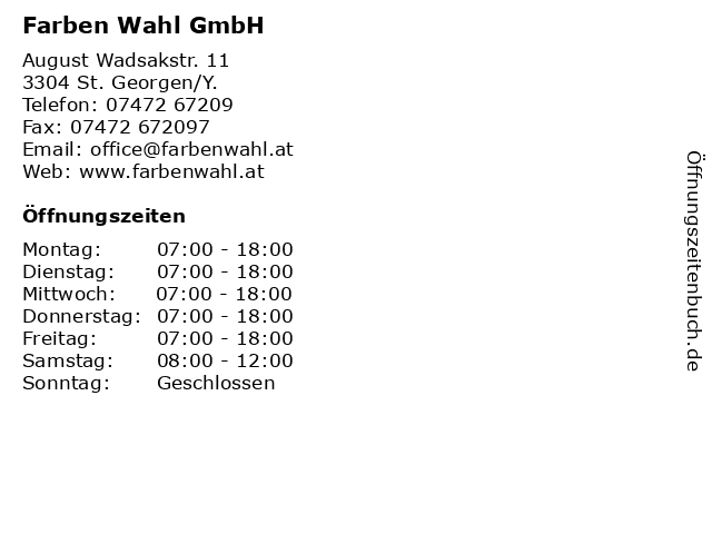 Farben Wahl GmbH in St. Georgen/Y.: Adresse und Öffnungszeiten